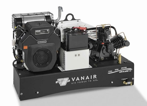 The Vanair Air-N-Arc 150 is designed for light to medium duty industrial repair and includes an air compressor, welder, AC generator and battery booster all in one compact unit.